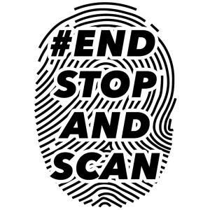 The text #ENDSTOPANDSCAN over a large black and white graphic of a fingerprint