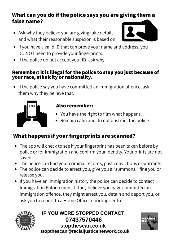 Know Your Rights leaflet side two - for the content, see the FAQ section