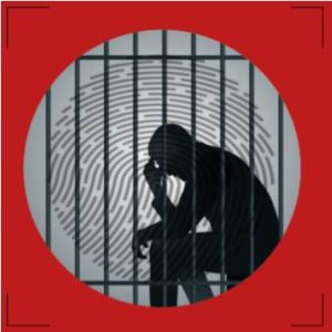 graphic of a silhouette of a person sitting behind bars head in their hand, a fingerprint graphic behind them and a red border.